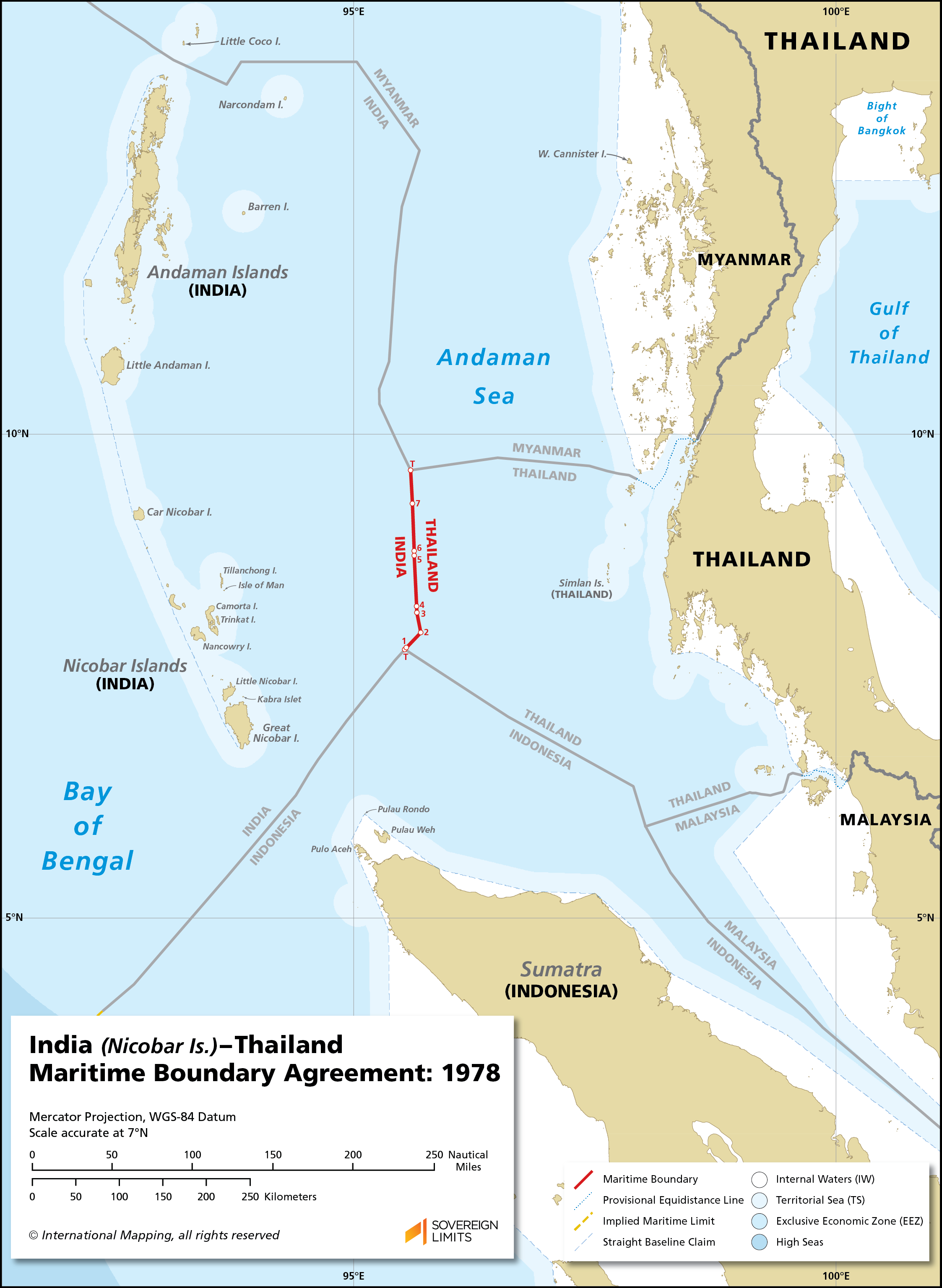 Map showing the maritime boundary between India and Thailand