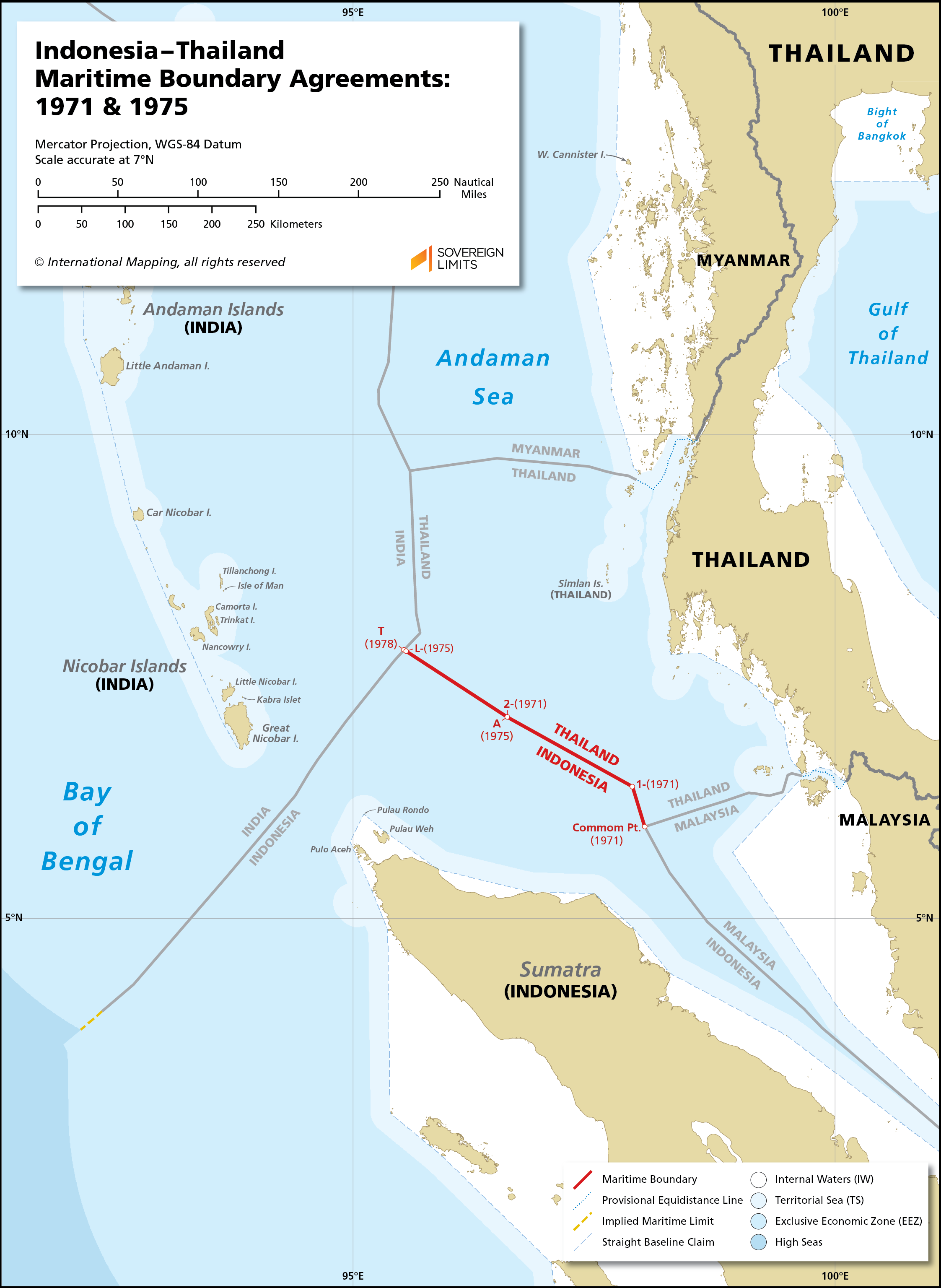 Map showing the maritime boundary between Indonesia and Thailand