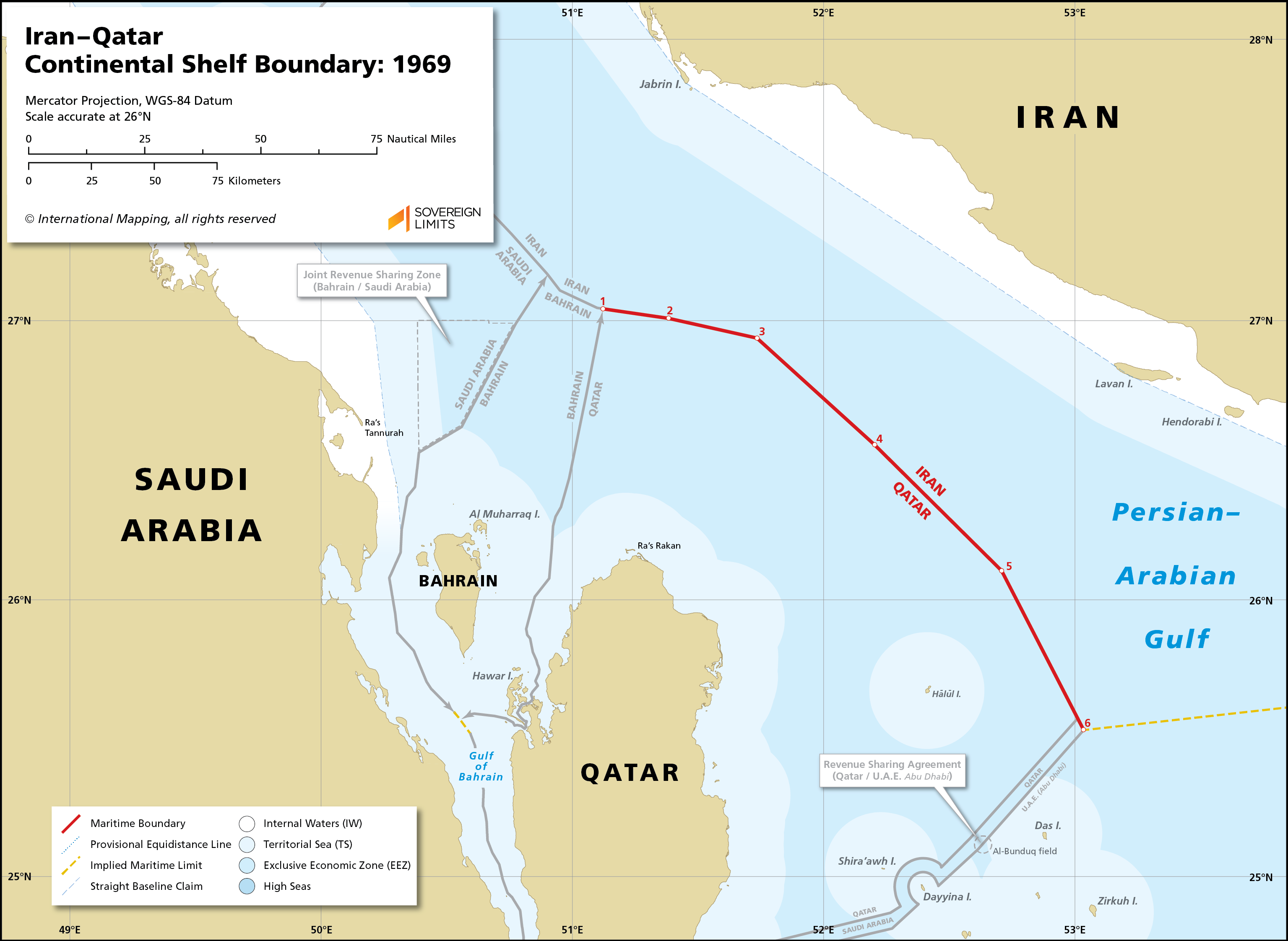 Map showing the maritime boundary between Iran and Qatar