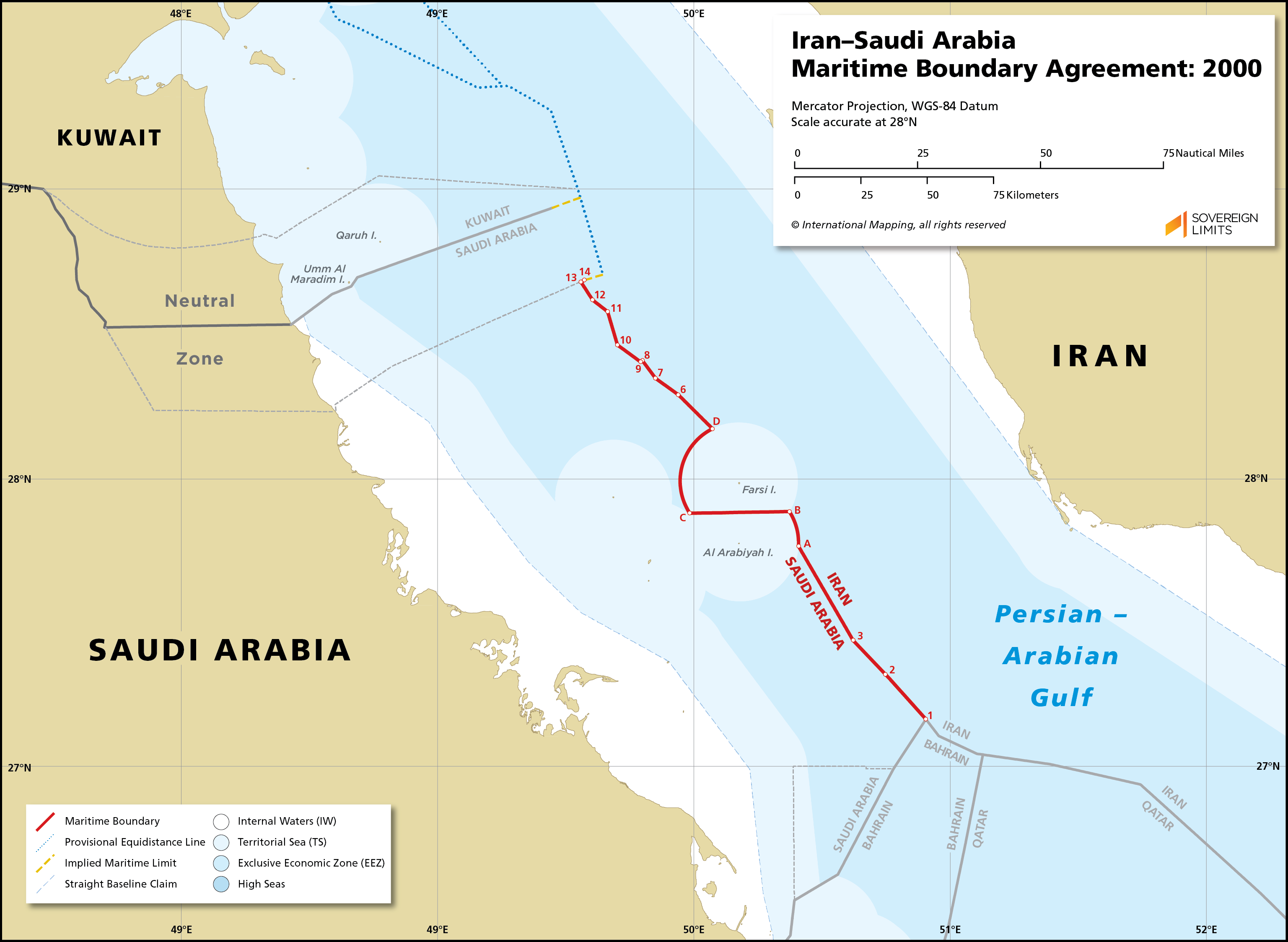 Map showing the maritime boundary between Iran and Saudi Arabia