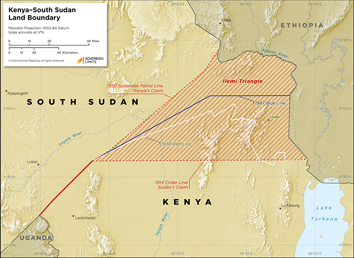 Map showing the land boundary between Kenya and South Sudan