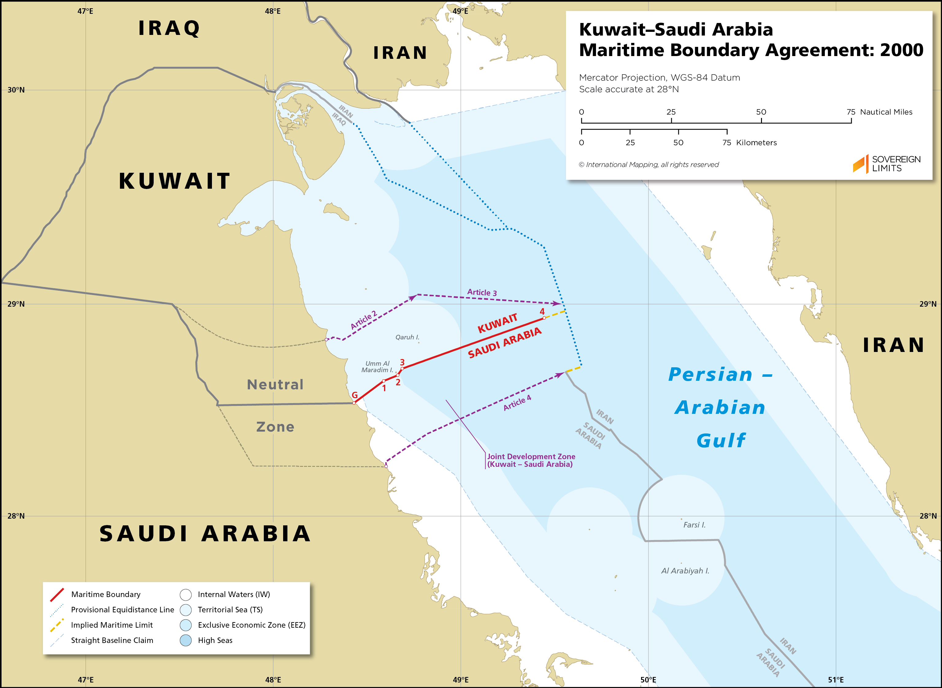 Map showing the maritime boundary between Kuwait and Saudi Arabia