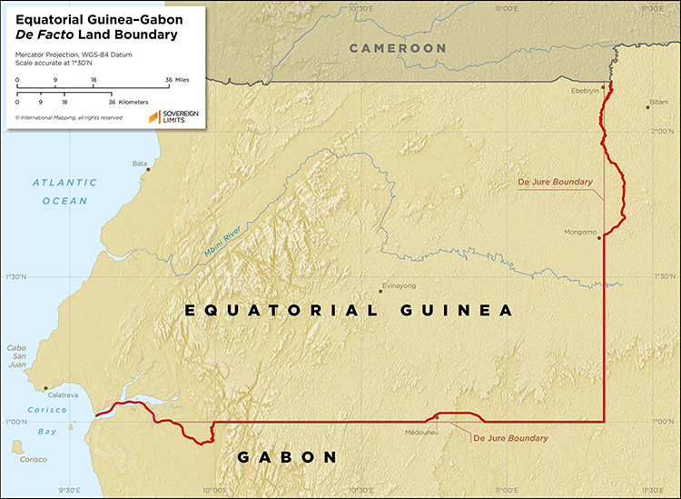 Map showing the land boundary between Equatorial Guinea and Gabon.