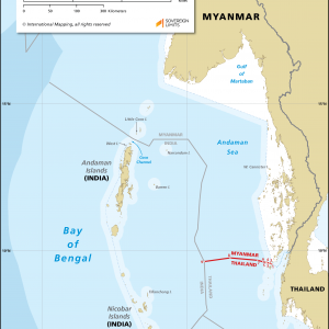 Map showing the maritime boundary between Myanmar and Thailand