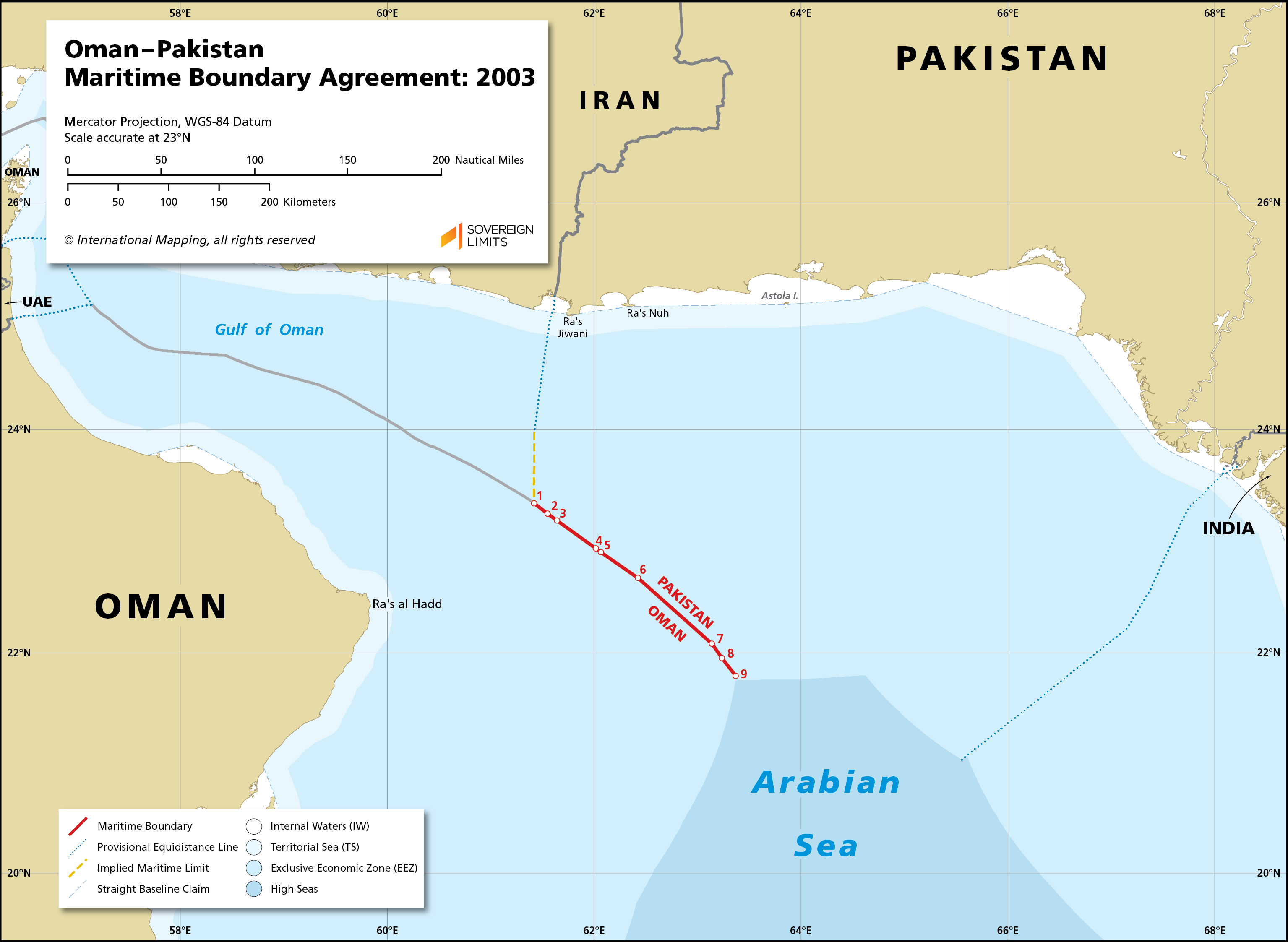 Map showing the maritime boundary between Oman and Pakistan