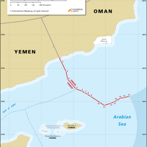 Map showing the maritime boundary between Oman and Yemen