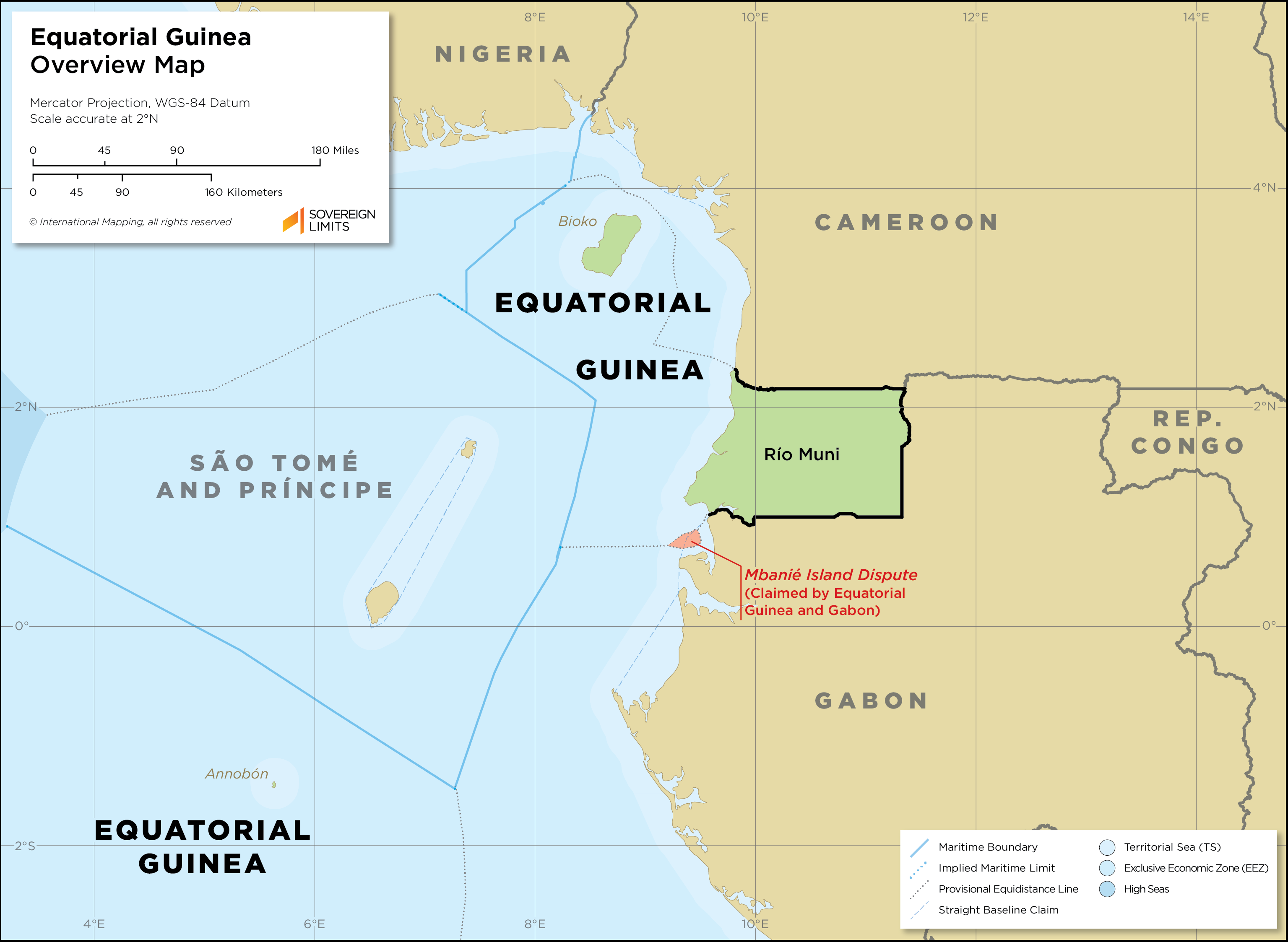 An overview map of Equatorial Guinea, showing both its continental territory known as Rio Muni along with its islands of Bioko and Annobon.