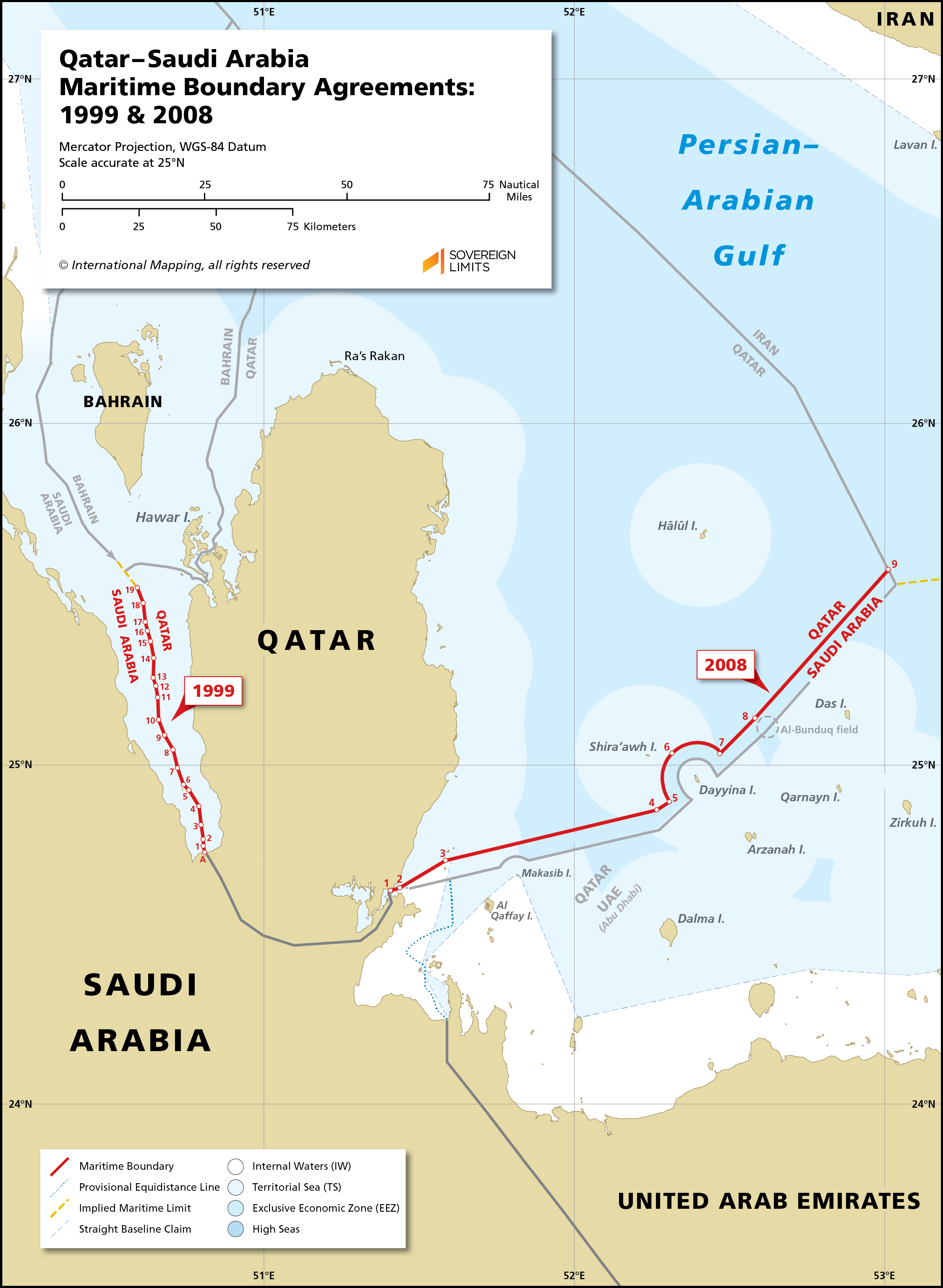 Map showing the maritime boundary between Qatar and Saudi Arabia