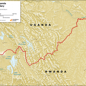 Map showing the land boundary between Rwanda and Uganda