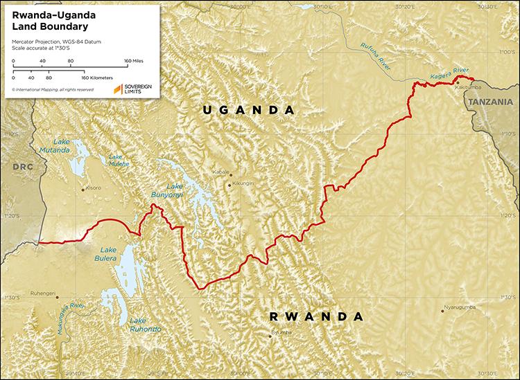 Map showing the land boundary between Rwanda and Uganda