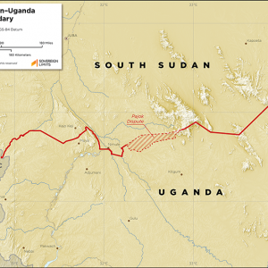Map showing the land boundary between South Sudan and Uganda