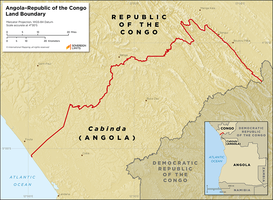 Map showing the land boundary between Angola and the Republic of the Congo