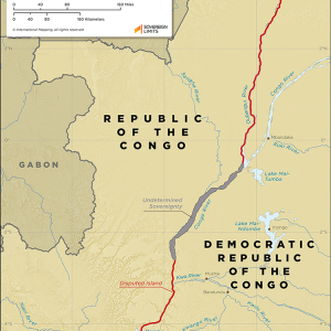Map showing the land boundary between Congo and the DRC