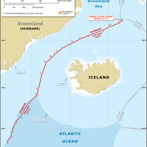 Map showing the maritime boundary between Greenland and Iceland