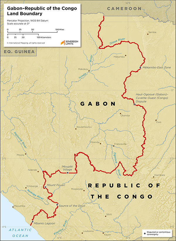 Map showing the land boundary between Congo and Gabon