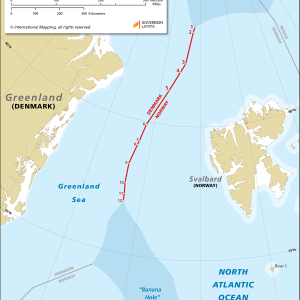 Map showing the maritime boundary between Greenland and Svalbard