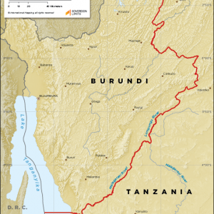 Map showing the land boundary between Burundi and Tanzania