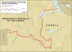 Map showing the land boundary between the DRC and Zambia