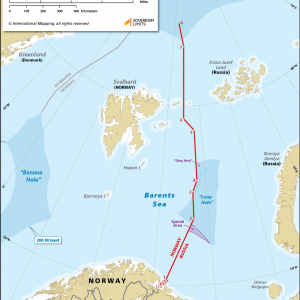 Map showing the maritime boundary between Norway and Russia