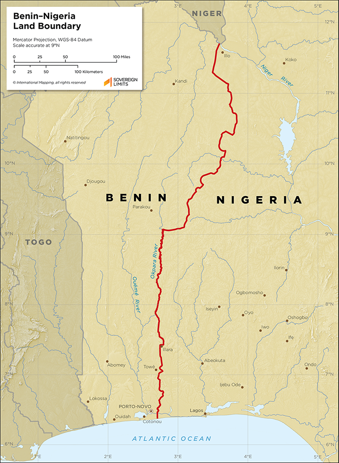 Map showing the land boundary between Benin and Nigeria