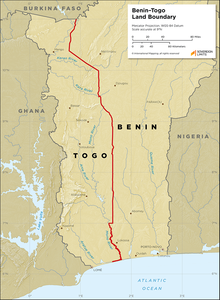 Map showing the land boundary between Benin and Togo