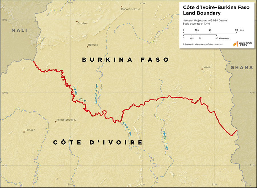 Map showing the land boundary between Burkina Faso and Côte d'Ivoire