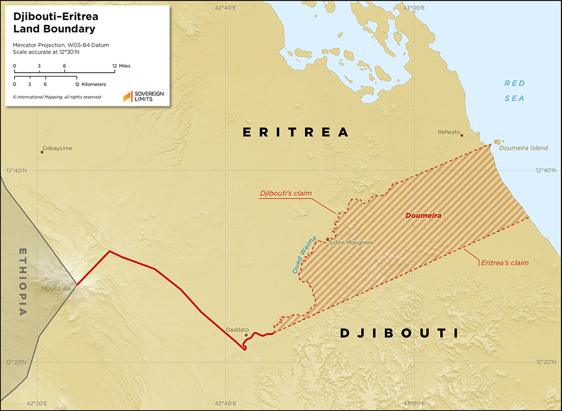 Map showing the land boundary between Djibouti and Eritrea