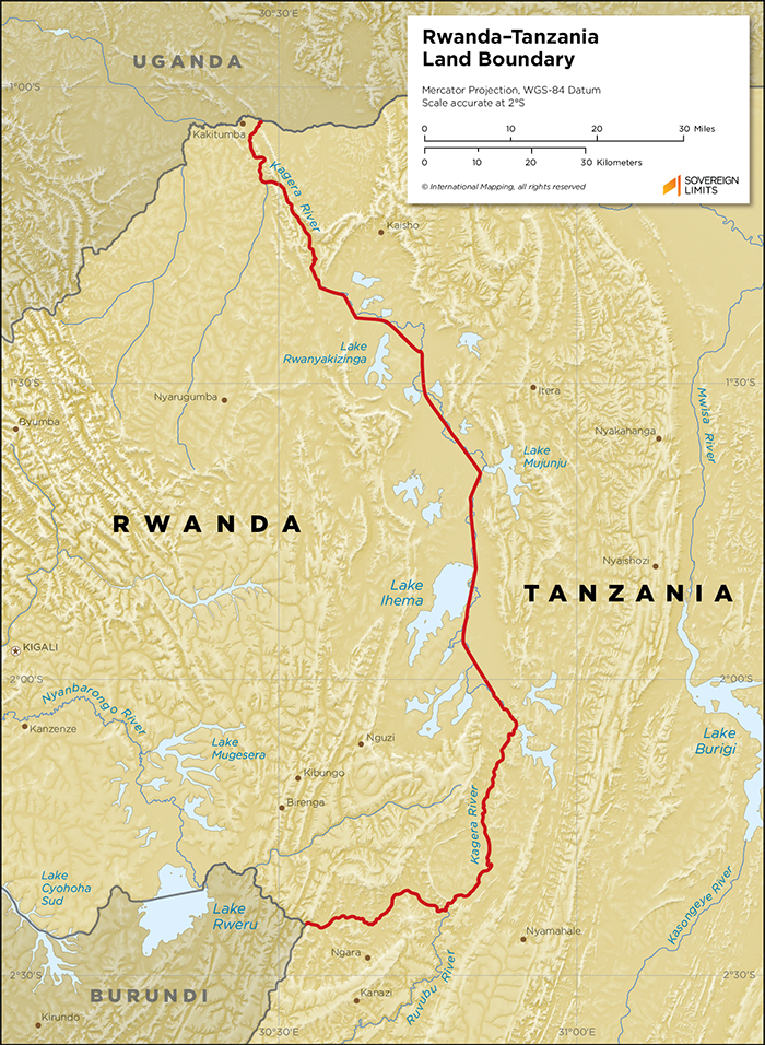 Map showing the land boundary between Rwanda and Tanzania