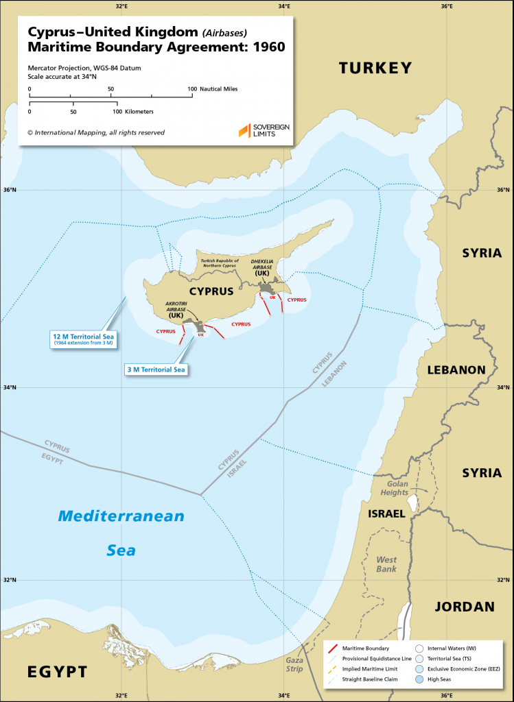 Map showing the maritime boundary between Cyprus and the UK Sovereign Base Areas of Akrotiri and Dhekelia.