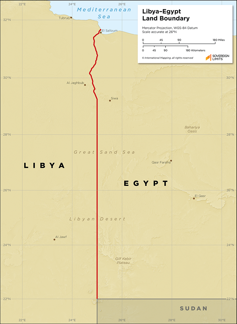 Map showing the land boundary between Egypt and Libya