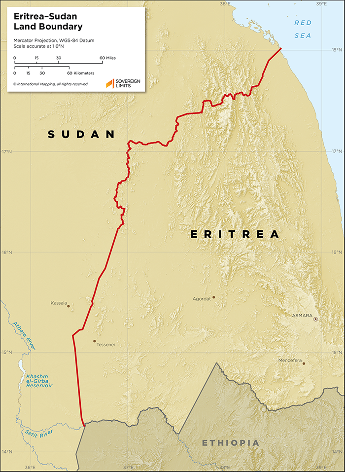 Map showing the land boundary between Eritrea and Sudan