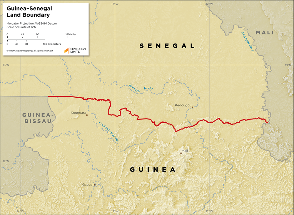Map showing the land boundary between Guinea and Senegal