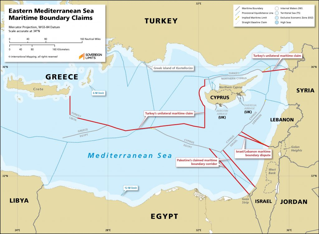 Map showing the various established maritime boundaries as well as claims.