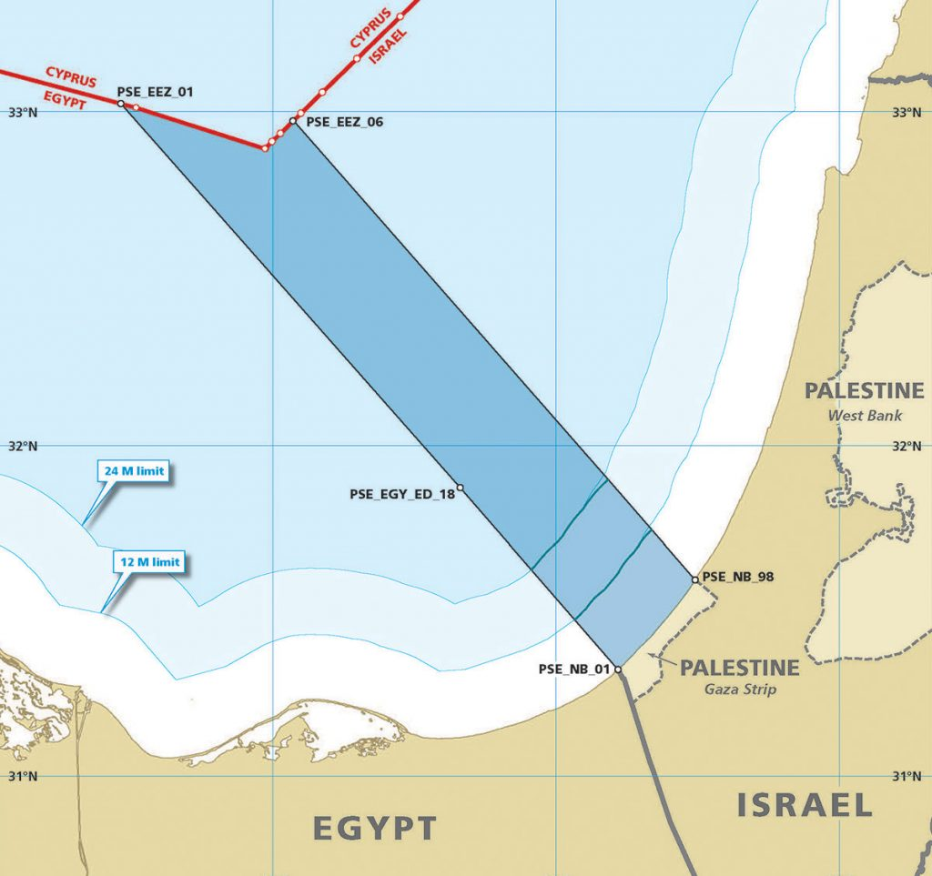 A map showing Palestine's unilateral maritime claims (a corridor from Gaza Strip to the already established boundaries with Cyprus).