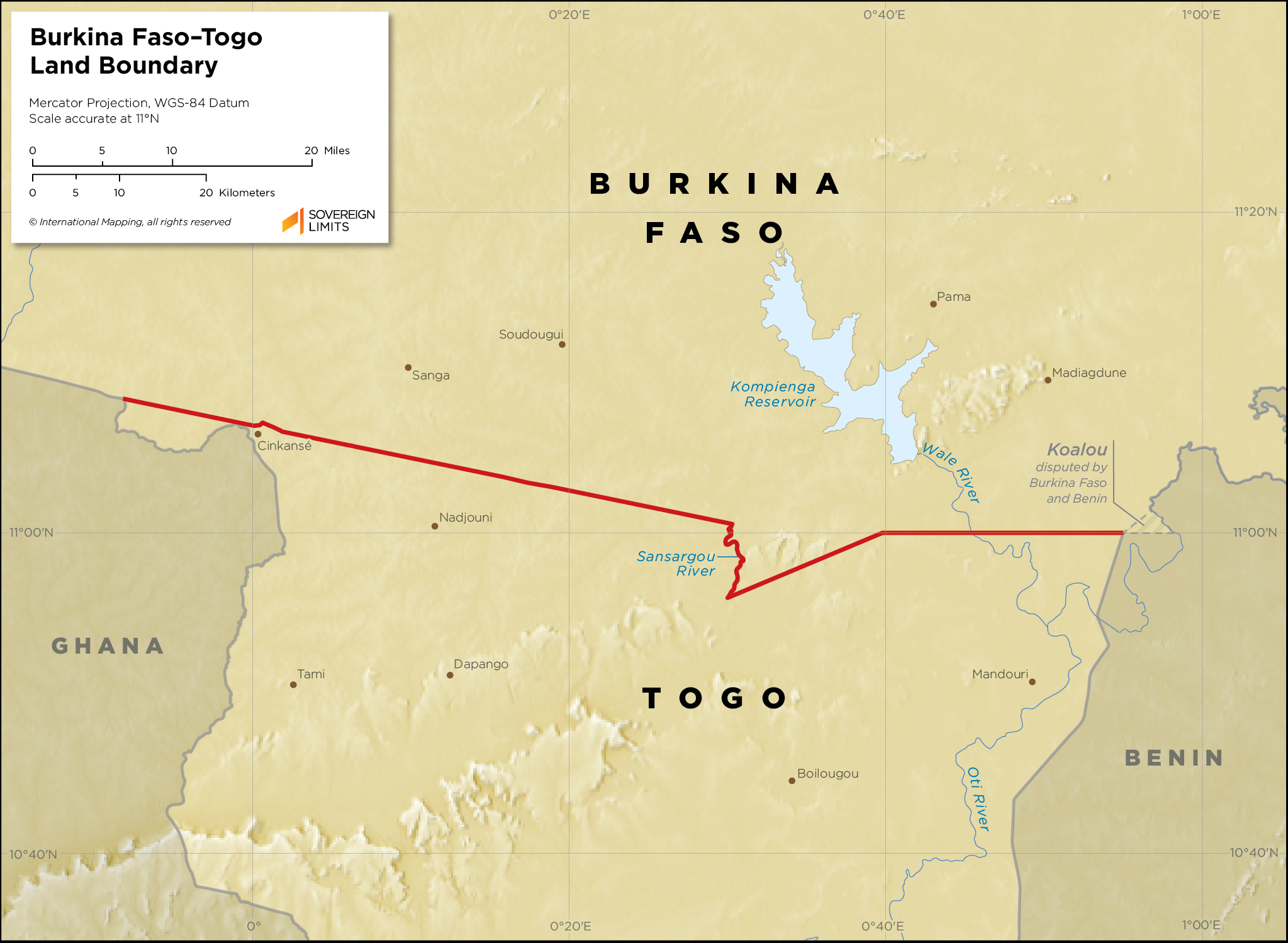 Map showing the land boundary between Burkina Faso and Togo
