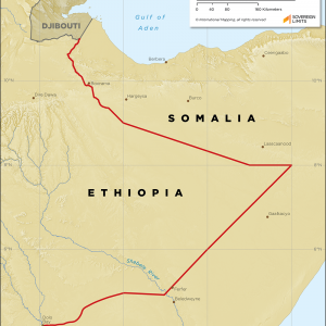 Map showing the land boundary between Ethiopia and Somalia