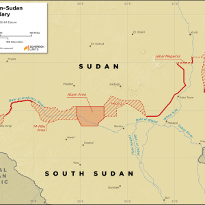 Map showing the land boundary between South Sudan and Sudan