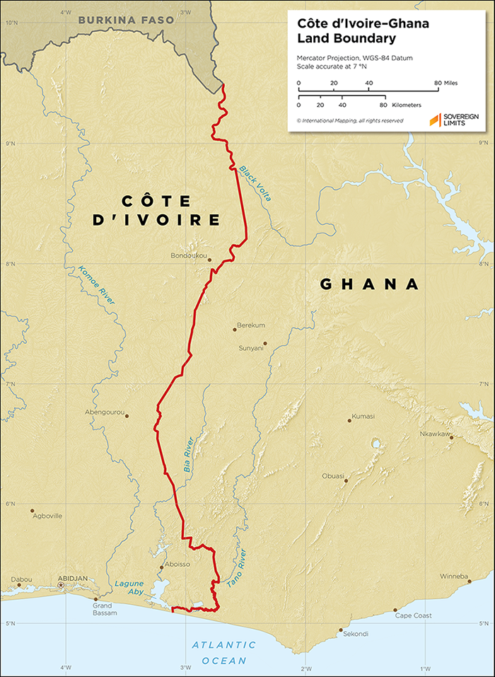 Map showing the land boundary between Côte d'Ivoire and Ghana