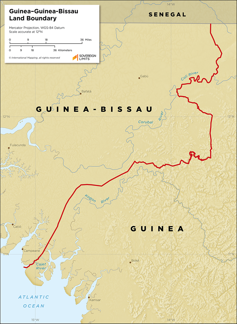 Map showing the land boundary between Guinea and Guinea-Bissau