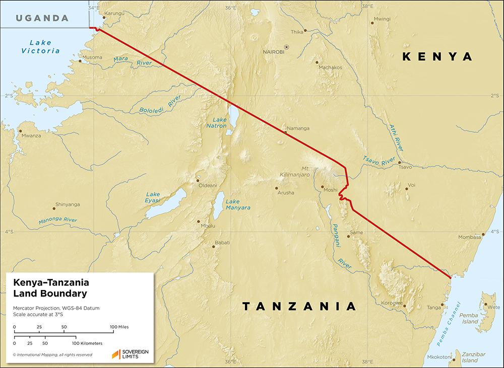 Map showing the land boundary between Kenya and Tanzania