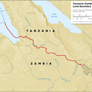 Map showing the land boundary between Tanzania and Zambia