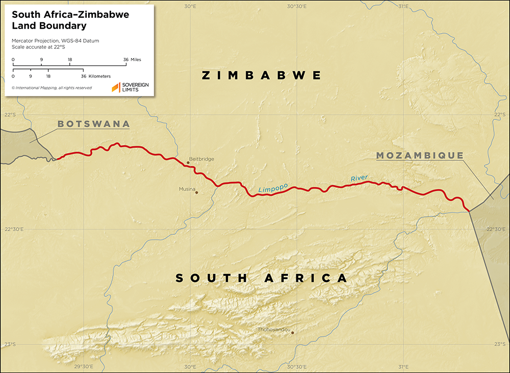 Map showing the land boundary between South Africa and Zimbabwe