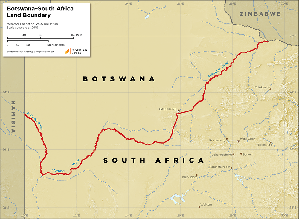 Map showing the land boundary between Botswana and South Africa