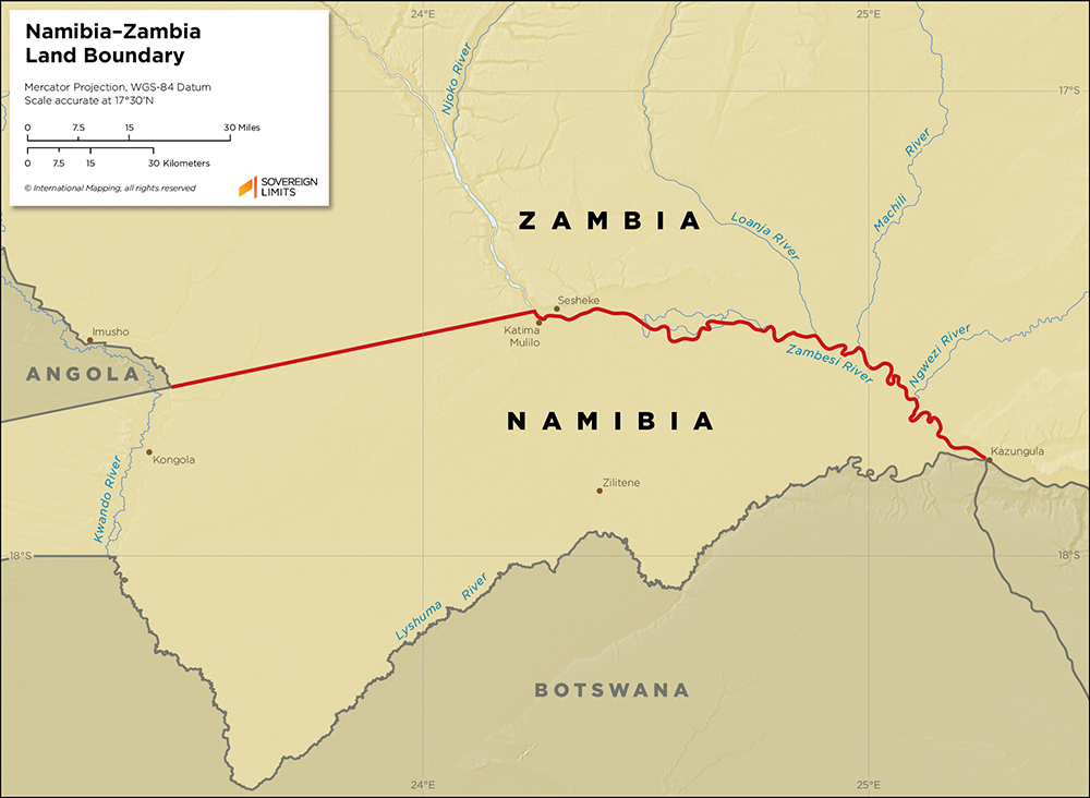 Map showing the land boundary between Namibia and Zambia