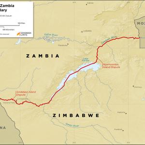 Map showing the land boundary between Zambia and Zimbabwe