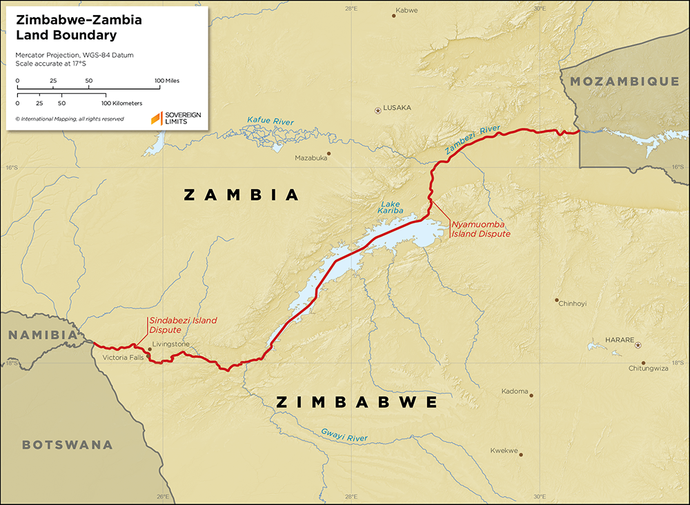 Map showing the land boundary between Zambia and Zimbabwe
