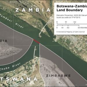 Map showing the land boundary between Botswana and Zambia