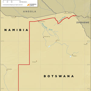 Map showing the land boundary between Namibia and Botswana