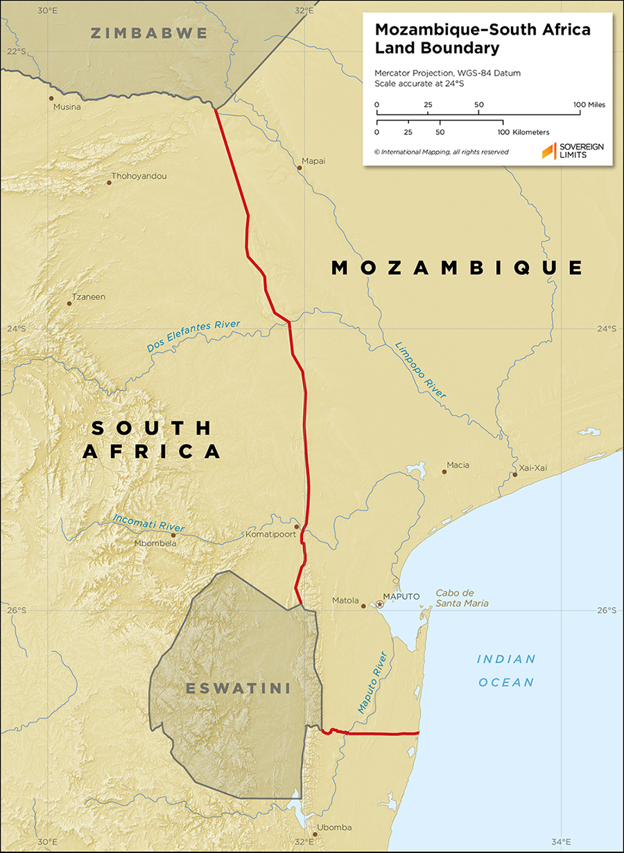 Map showing the land boundary between Mozambique–South Africa