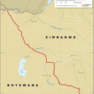 Map showing the land boundary between Botswana and Zimbabwe